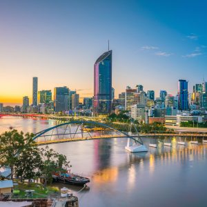 A Brisbane city sunset landscape of skyscrapers and the river