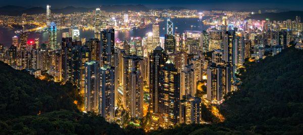 Hong Kong night time cityscape