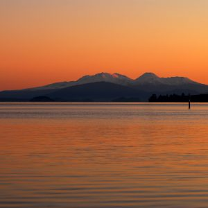 Lake Taupo at sunset looking towards Tongariro National Park