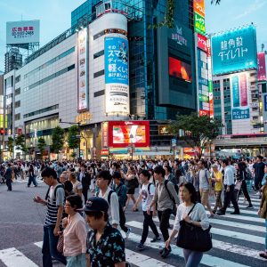 a busy crossing in tokyo