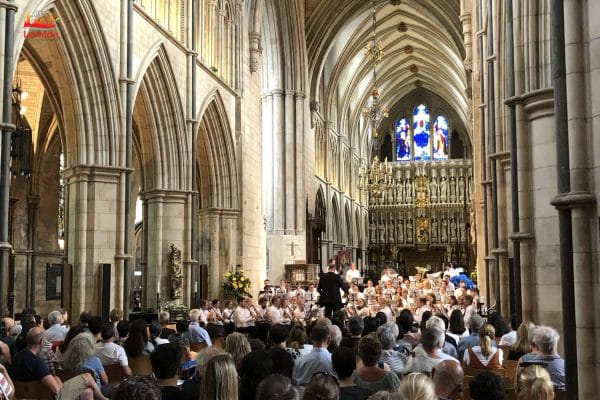 audience viewing performance at Southwark Cathedral