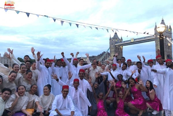 Celebration with performers from around the world at Tower Bridge