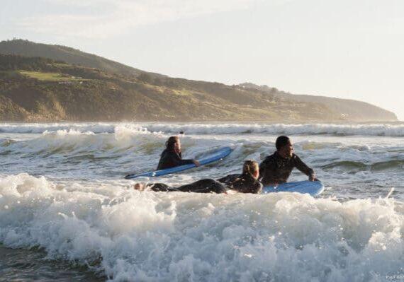 Surfing at Raglan