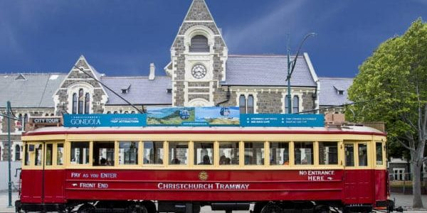 Christchurch art centre with tram