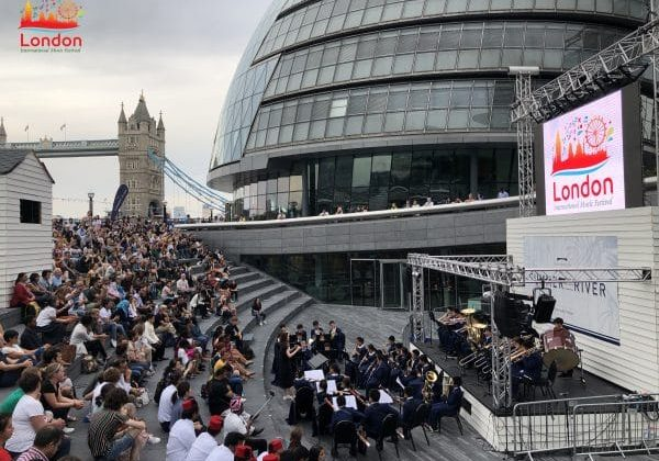 Performances outside tower bridge in London for the music festival