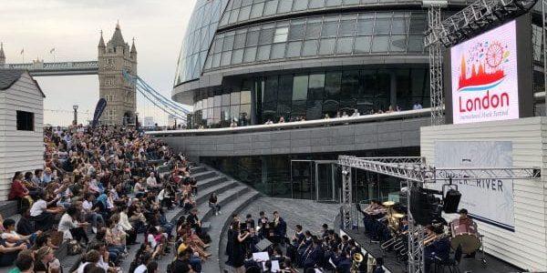 Performances outside tower bridge in London for the music festival