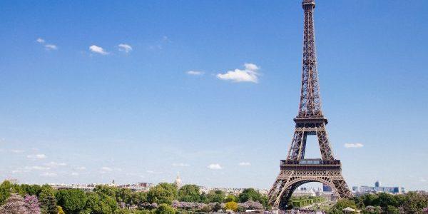Eiffel Tower in Paris against a blue ski