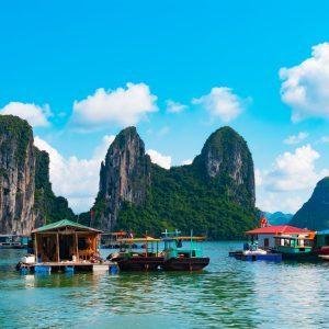 floating village in Ha Long Bay Vietnam