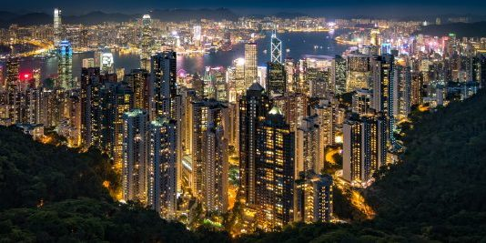 Hong Kong night time cityscape