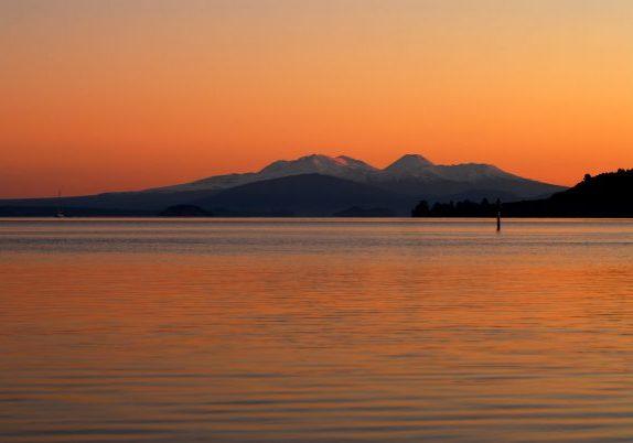 Lake Taupo at sunset looking towards Tongariro National Park