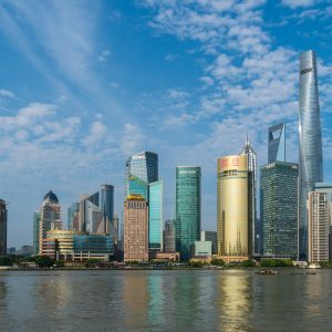the Shanghai skyline by day from the water