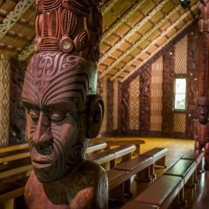 Beautiful carved pou and tukutuku panels of the Māori meeting house at Waitangi New Zealand