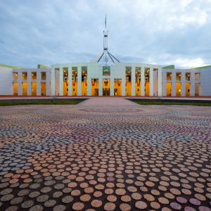 A front view of Canberra's Houses of Parliament