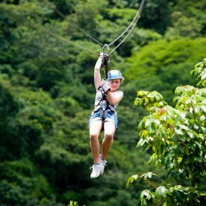 Student on a zipline in Costa Rica