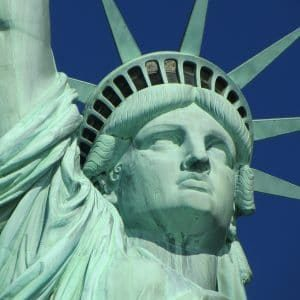 The face of the Satue of Liberty